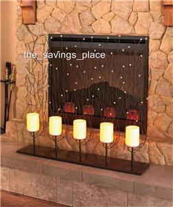 LED REMOTE CONTROL 5 CANDLE MANTEL HEARTH FIREPLACE SCREEN