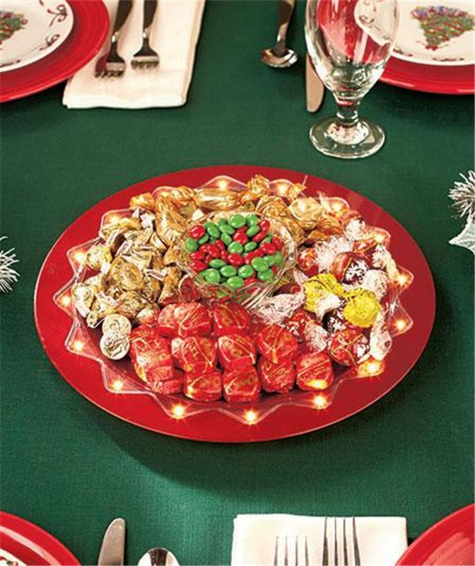 Led red or gold christmas holiday charger plate
