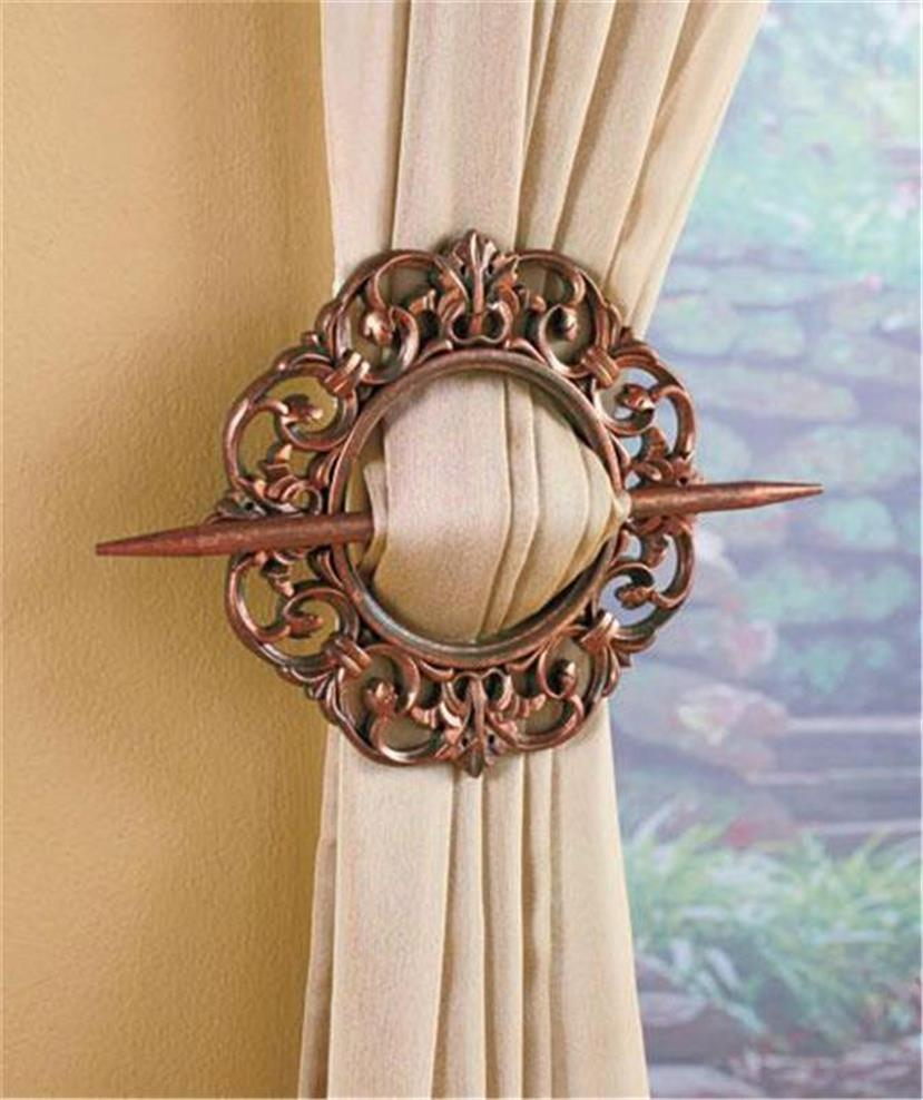 Set Of 2 Antique Look Or Thread Covered Window Treatment Curtain Tie Backs Nice