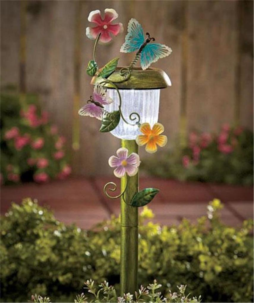 Decorative 3 d solar power auto on garden yard stake light frog butterfly ladybg ebay - Decorative garden lights ...