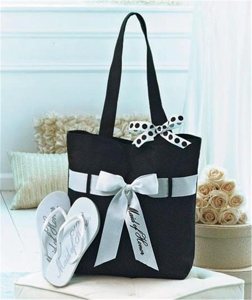 Wedding party gift tote bag flip flop set bride bridesmaid