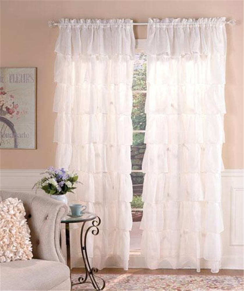 SEMI SHEER GYPSY RUFFLED WINDOW TREATMENT CURTAIN PANEL ... Ruffled Curtains