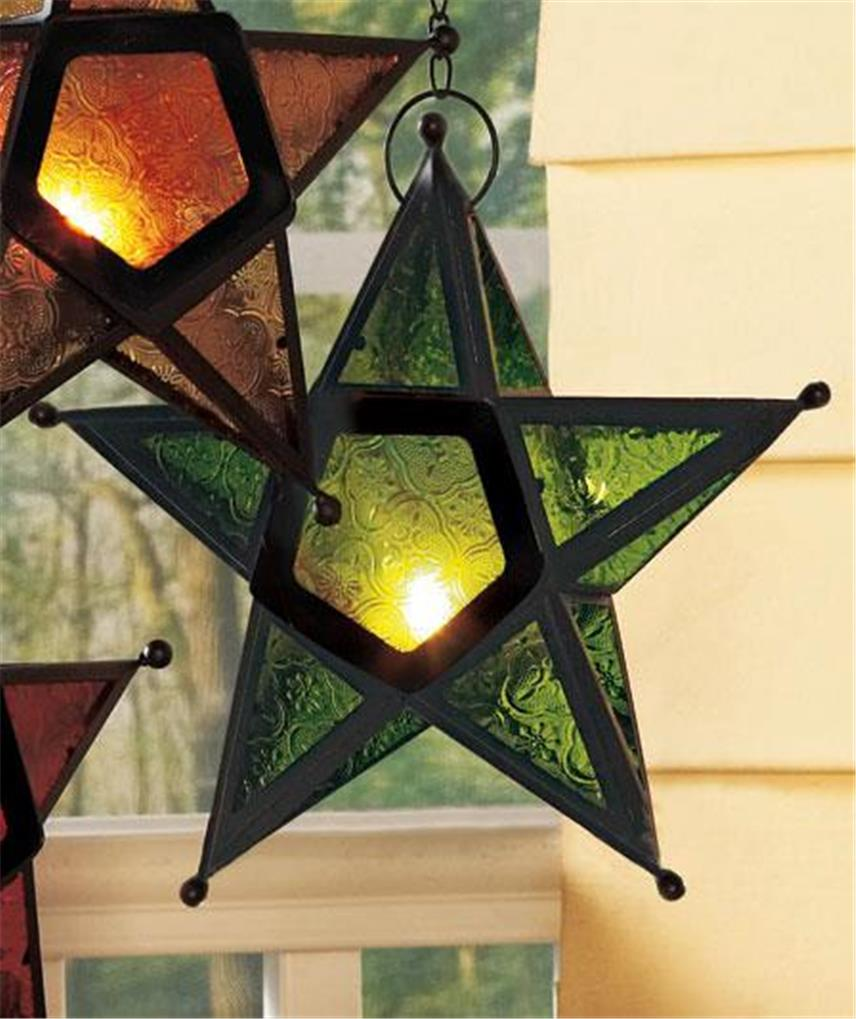Etched Glass Candle Lantern
