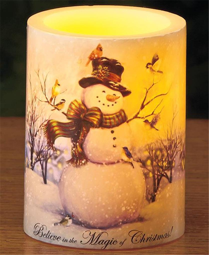 Flameless led christmas scene real wax pillar candle 5 scenes avail great gift ebay - Appealing christmas led candles for christmas decorations ...