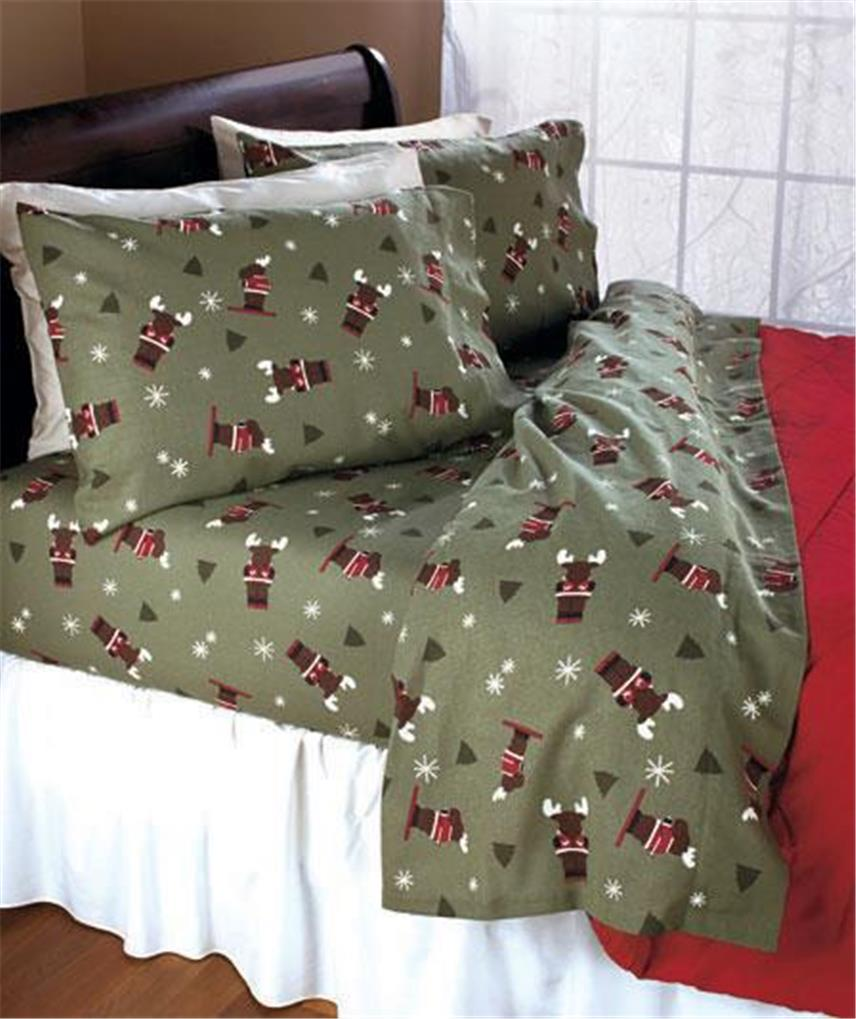 Cozy Soft Flannel Sheet Set Bedding In Owl Moose Or