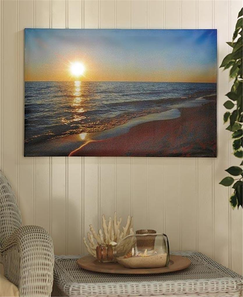 Lighted Canvas Wall Decor : Lighted scenic canvas beach lighthouse pier wall art