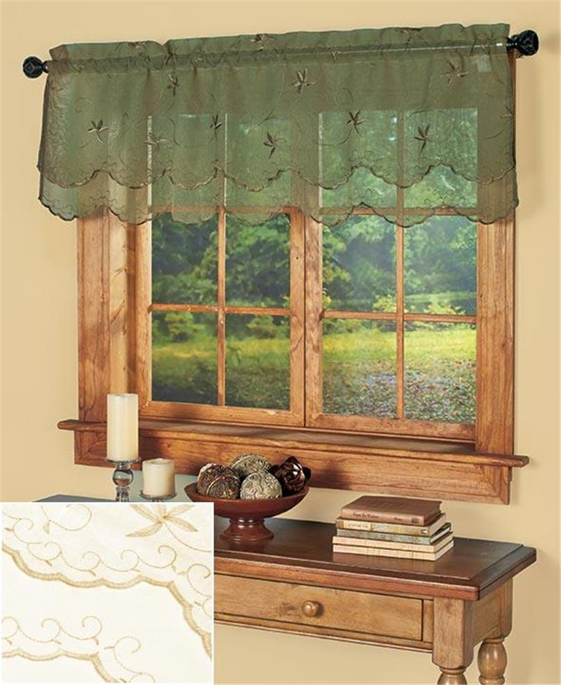 Scalloped Valances For Windows : Semi sheer embroidered double scallop window valance