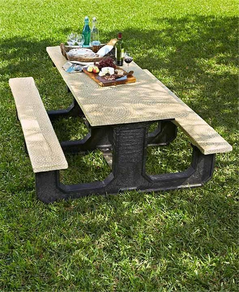 3 Piece Stone Look Mosaic Print Picnic Table Cover Set Tan