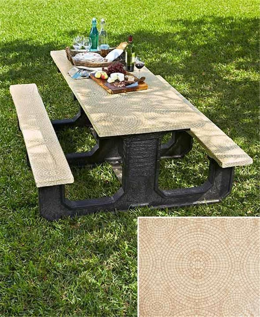 PIECE STONE LOOK MOSAIC PRINT PICNIC TABLE COVER SET TAN OR TERRA - Stone picnic table