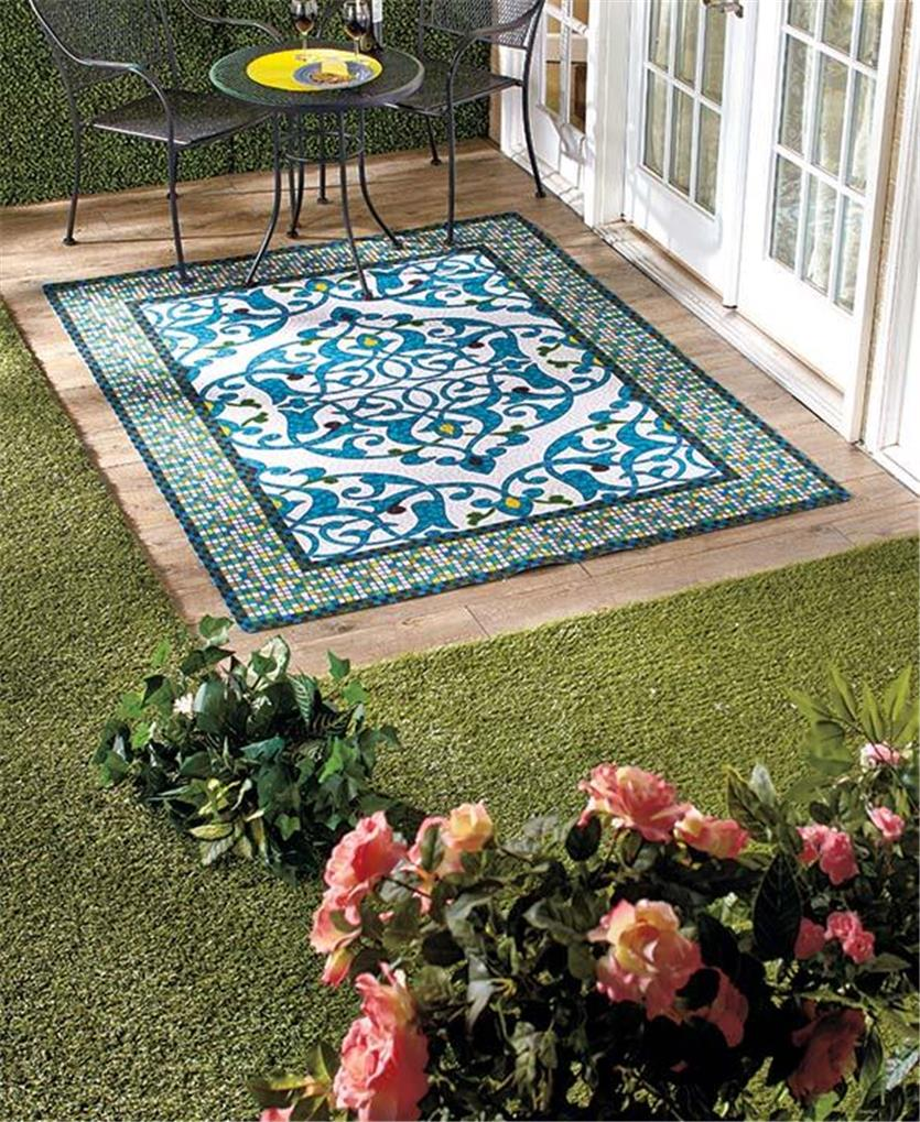 Easy drainage mosaic design outdoor area runner or accent for Outdoor rugs for deck