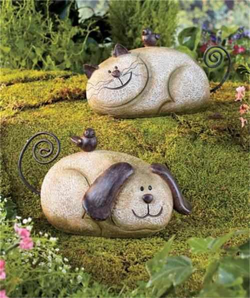 Whimsical stone look garden friend dog or cat lawn decor for Whimsical garden statues