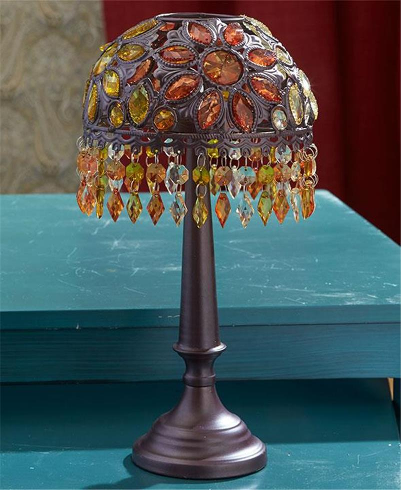 ROMANTIC BEADED TEA LIGHT CANDLE ACCENT TABLE LAMP