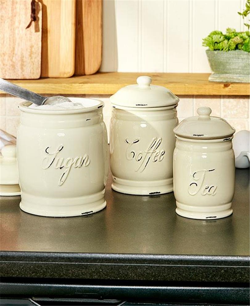 set of 3 embossed classic ceramic kitchen countertop
