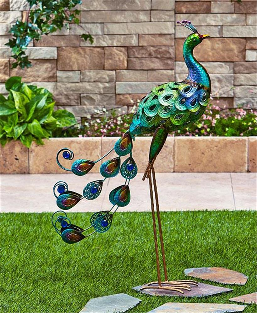 Shimmering metallic finish peacock or flamingo garden yard for Garden ornaments and accessories