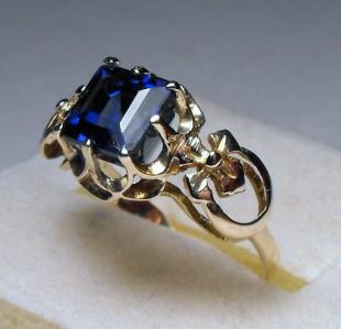 ANTIQUE ART DECO 2.68cts EMERALD CUT BLUE SAPPHIRE 14KT RING