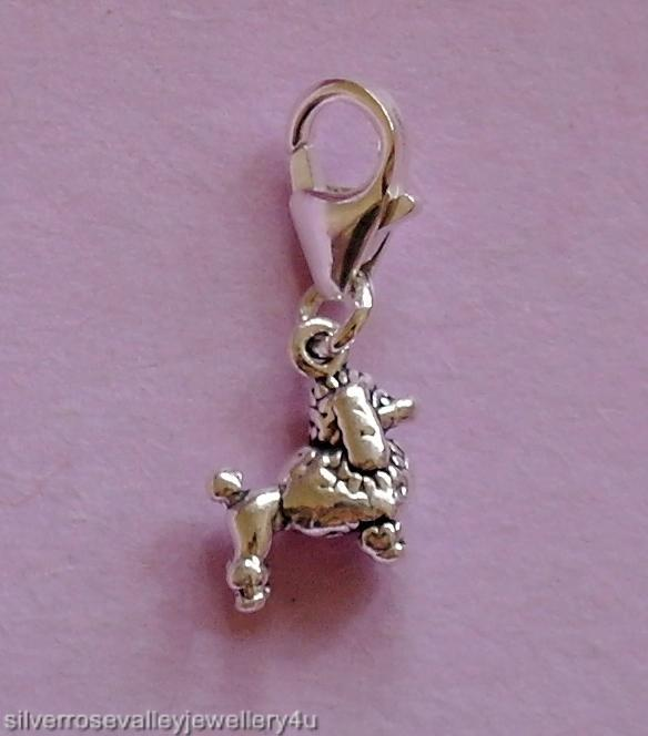 Small-Poodle-Dog-Clip-on-Charm-STERLING-SILVER