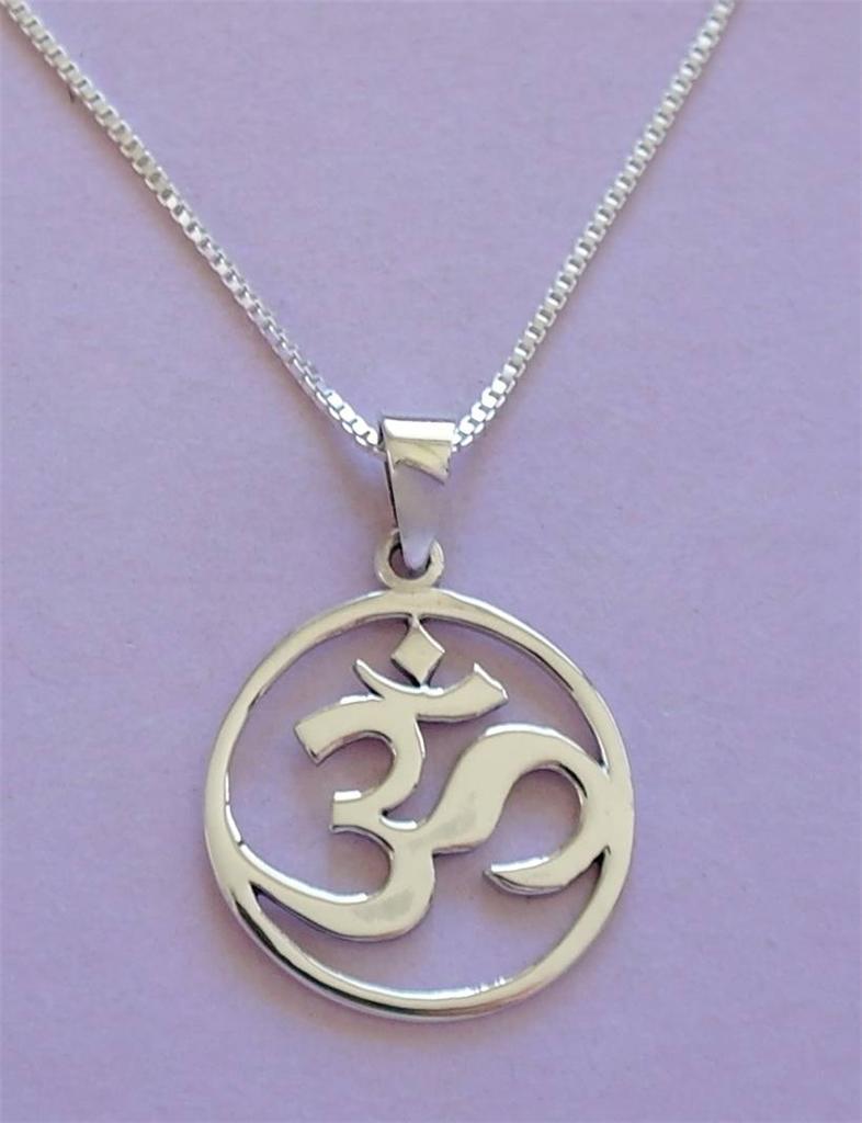 ohm pendant chain necklace sterling silver 925 ebay