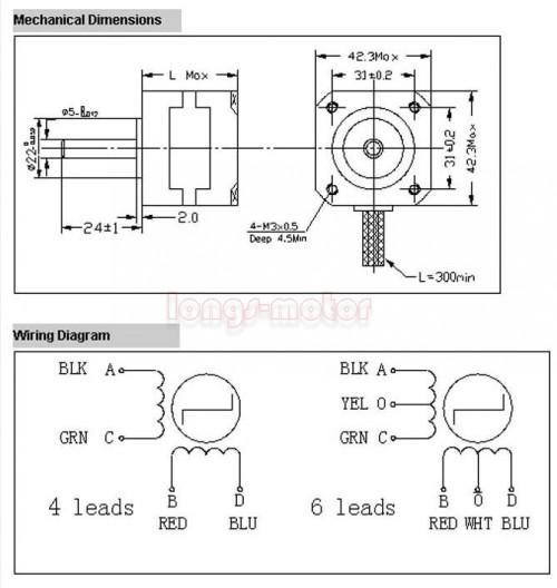 3 Phase 6 Lead Motor Wiring Diagram: 2018 42BYGH4604 Stepper Motor 2 Phase 6 Wire 12V Motor