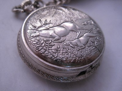 vintage westclox deer stag hunting hounds pocket watch ebay