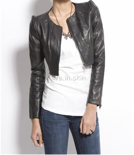 Lambskin leather designer power shoulder cropped bolero for Designer bolero