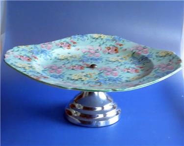 Art Deco Chrome Cake Stand : Shelley Melody Pattern Chintz Cake Stand Plate With Chrome ...