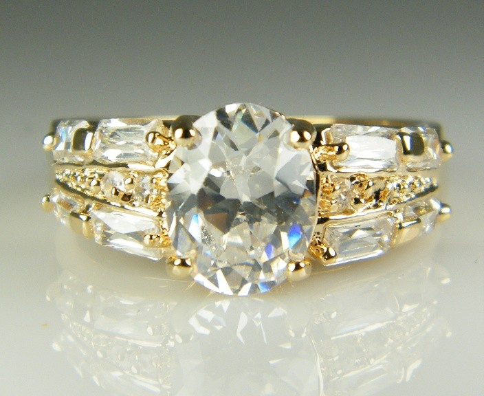 gorgeous 10k yellow gold filled white sapphire jewelry