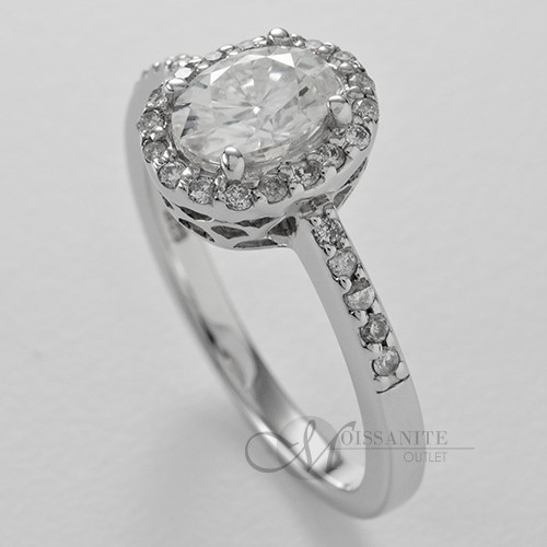 1 04 ctw Oval Moissanite Halo Thin Band Fashion Engagement Ring 1 ct