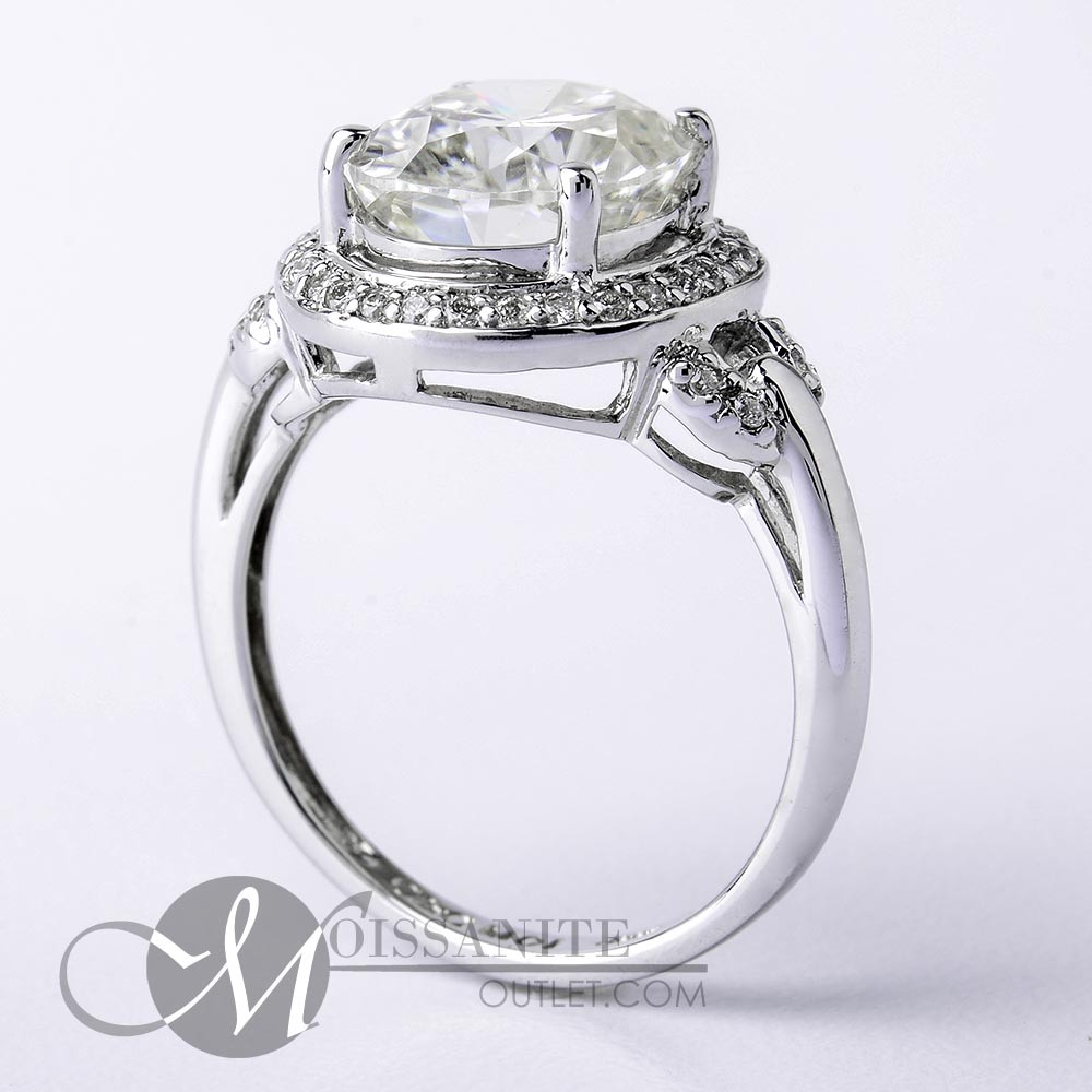 4 40 ctw Oval Moissanite Halo Thin Band Buckle Engagement Fashion Ring 4 1 2 ct