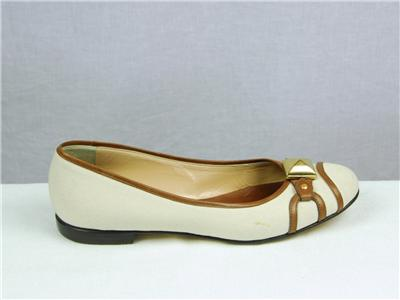 giuseppe zanotti ivory canvas brown leather ballet shoes
