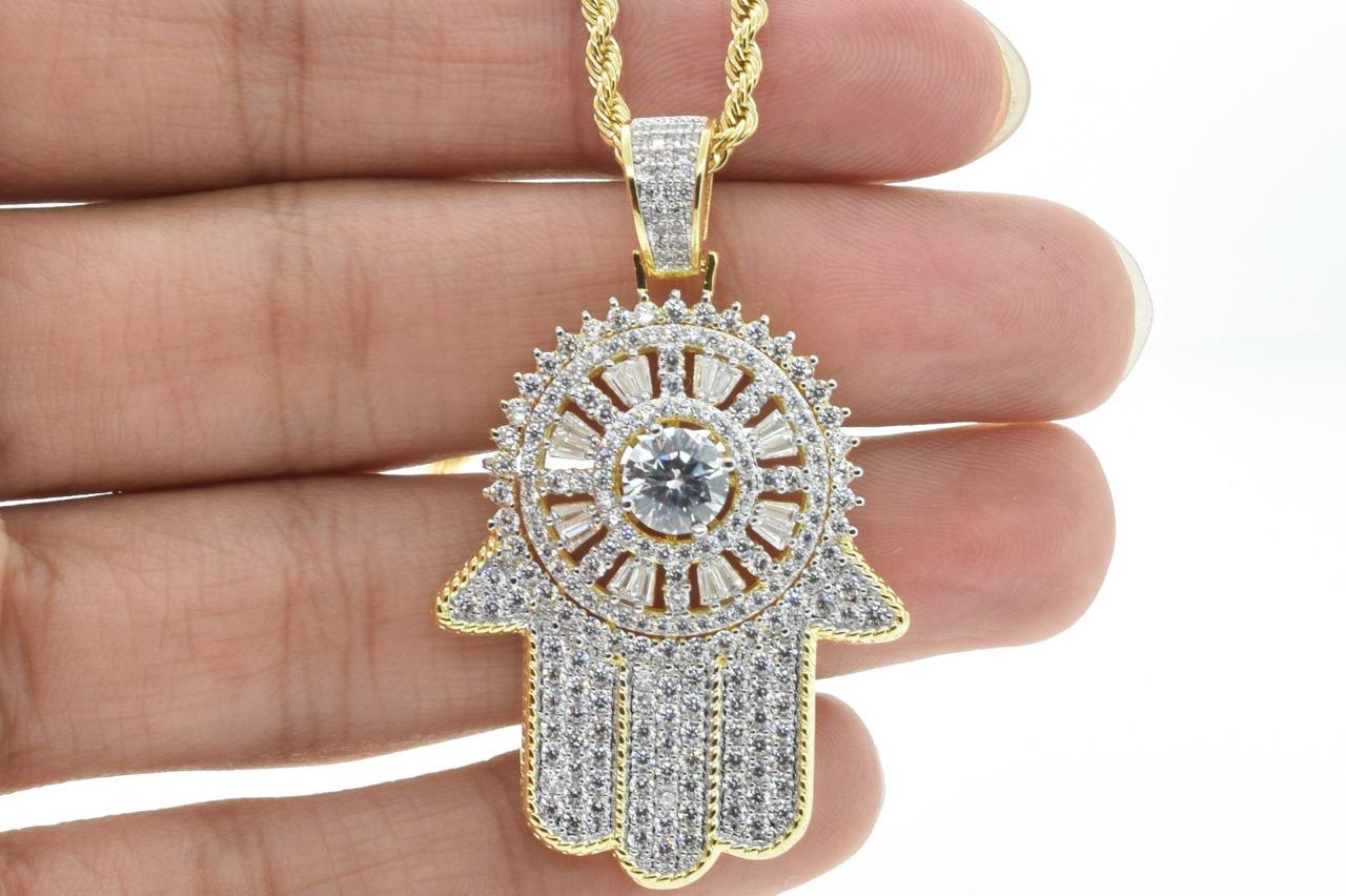 Hip Hop 14K Gold Plated Spinning Religious Hamsa Hand Flashy Ice with Rope Chain