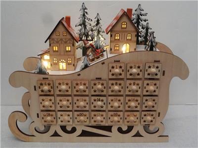 german christmas large 15 sleigh alpine chalet lighted wood advent calendar box. Black Bedroom Furniture Sets. Home Design Ideas