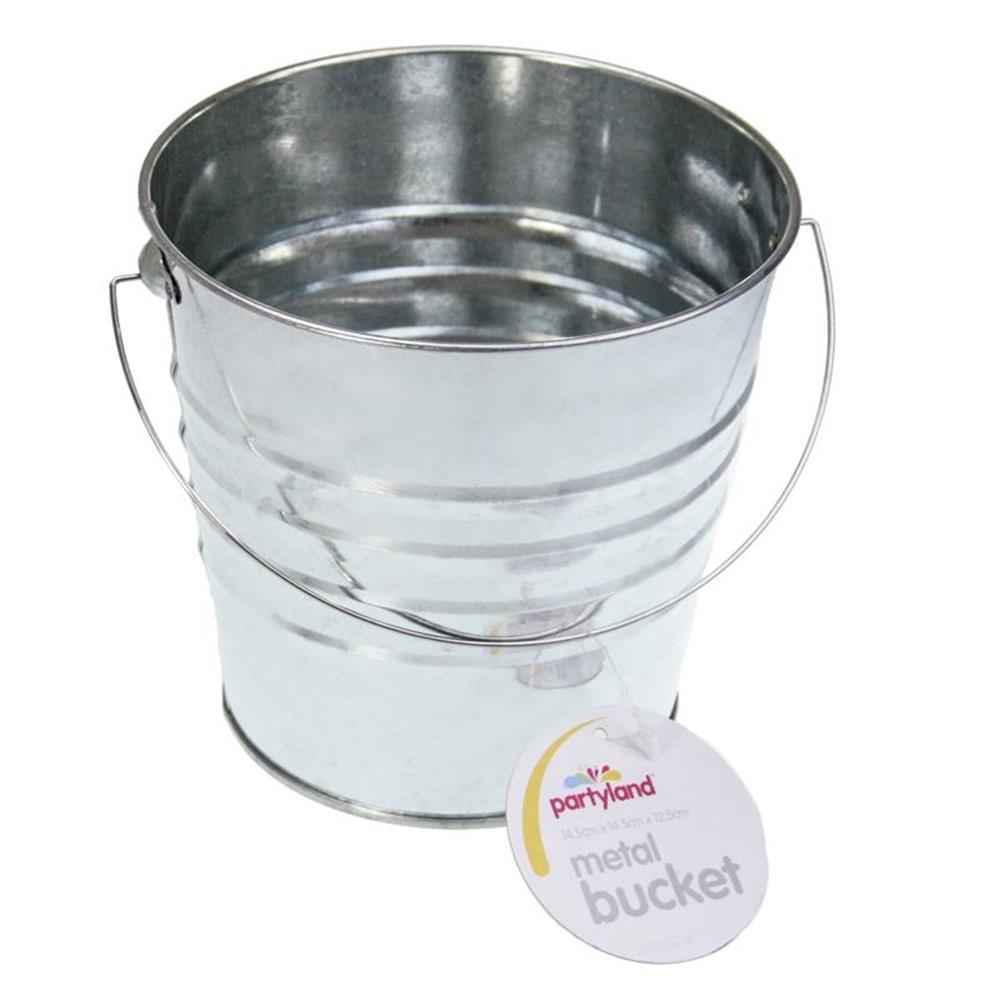 6 x large galvanized silver tin metal pail bucket wedding for Large galvanized buckets for flowers