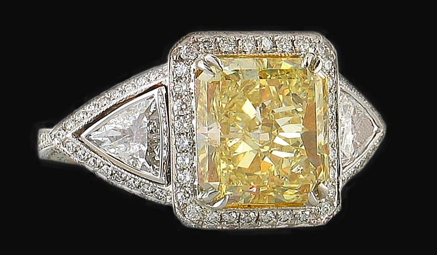3 50 carat yellow canary diamonds anniversary ring gold