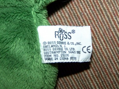 16 Russ Berrie Lil Peepers Dermot Plush Large Green Eyed Green Frog