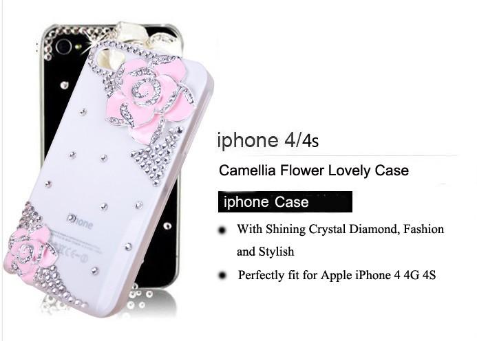 4S Camellia Bling Diamond Hard Case Cover Skin Handmade Pink