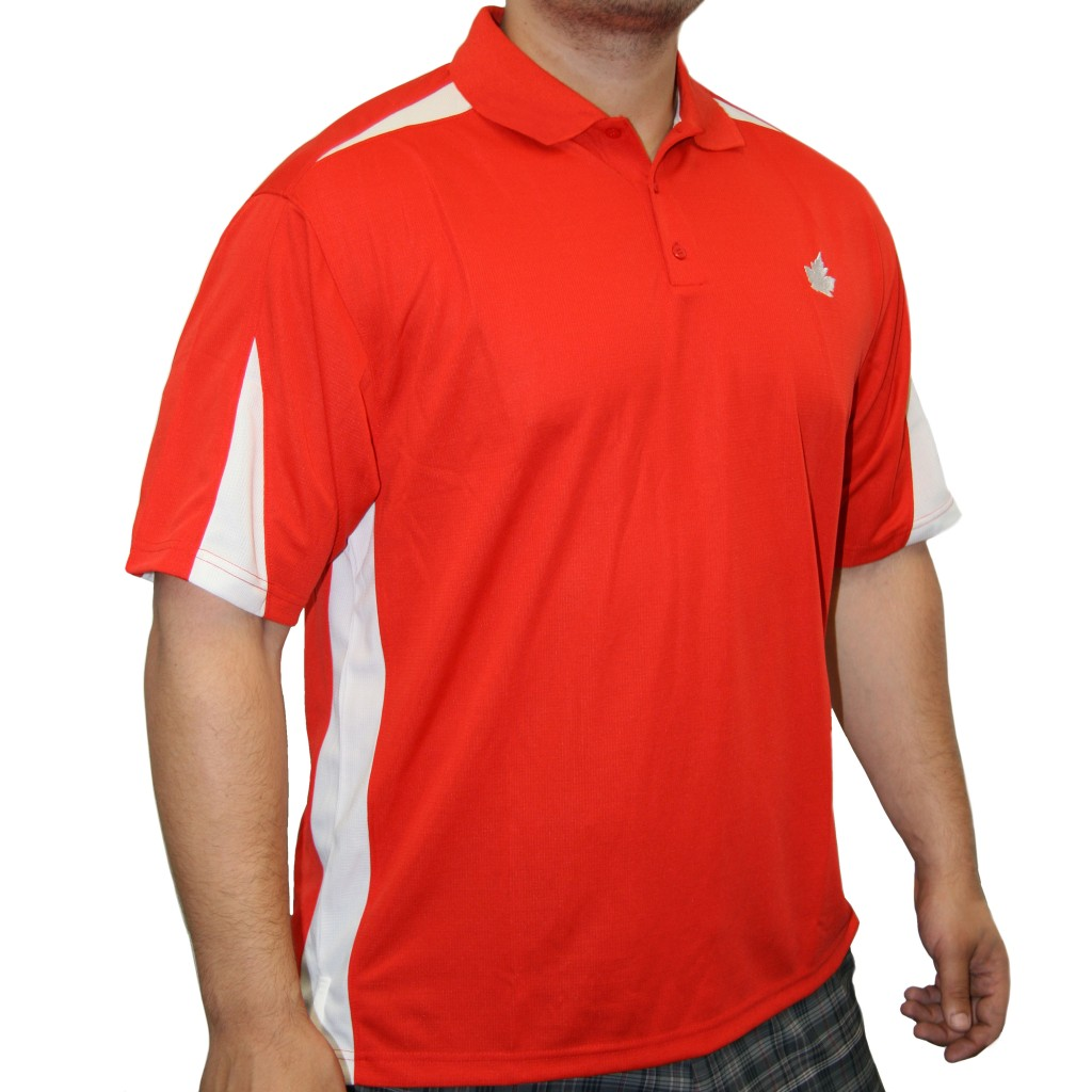 Canada microfiber golf shirt 3 button polo mandarin red for Polo shirts without buttons