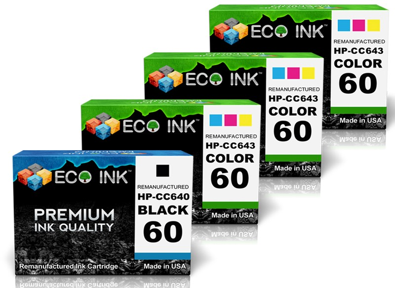 ECO INK HP 60 ECO INK Compatible Remanufactured for HP 60 CC640WN CC643WN (1 Black & 3 Color) HP60 CC640W CC640 CC643W CC643 at Sears.com