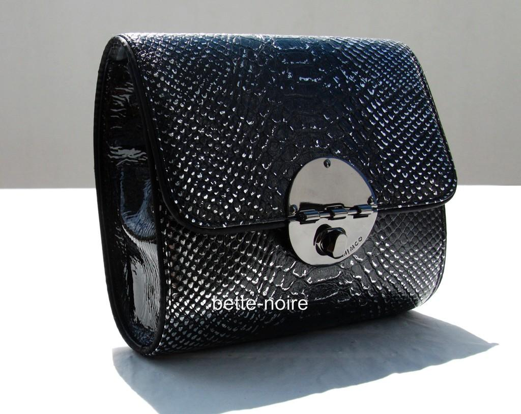 MIMCO-Square-Tux-Clutch-Black-Wrinkle-Patent-Leather-RRP-279-Evening-Bag