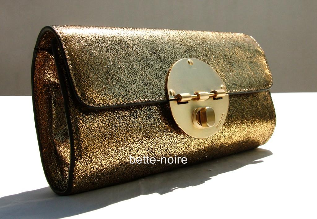 MIMCO-Tuxedo-Clutch-Gold-Metallic-Crackle-Leather-RRP-299-BNWT-Evening-Bag