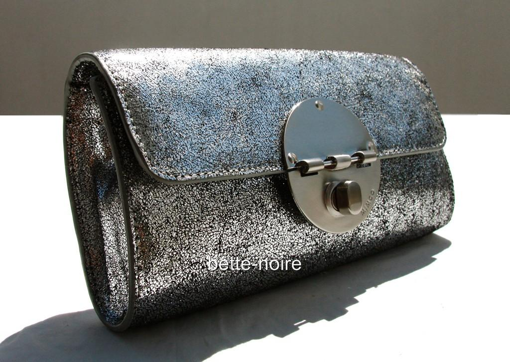 MIMCO-Tuxedo-Clutch-Silver-Metallic-Crackle-Leather-RRP-299-BNWT-Evening-Bag