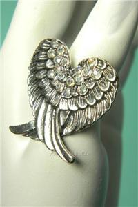 Angel Wing Stretch Adjustable Ring Rhinestone Crystal Free Expedited