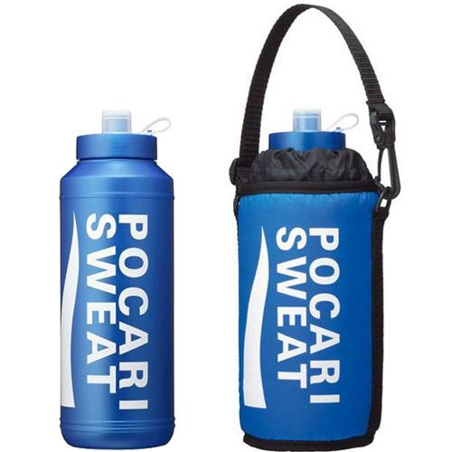 Sweat Towel Water Bottle: New Pocari Sweat Squeeze Bottle And Carrying Bag Cold