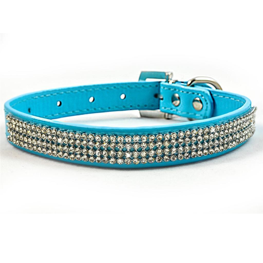 New-Blue-Diamante-Dog-Collar-Rhinestone-Leather-Bling