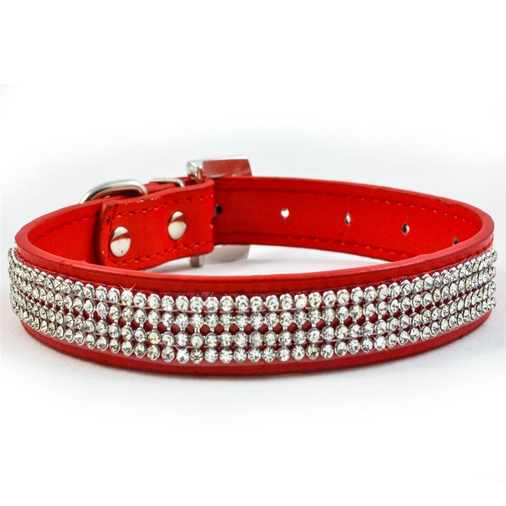 New-Red-Diamante-Dog-Collar-Rhinestone-Leather-Bling