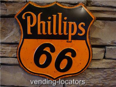 Phillips 66 Paraffin Motor Oil Metal Tin Sign Gas Service