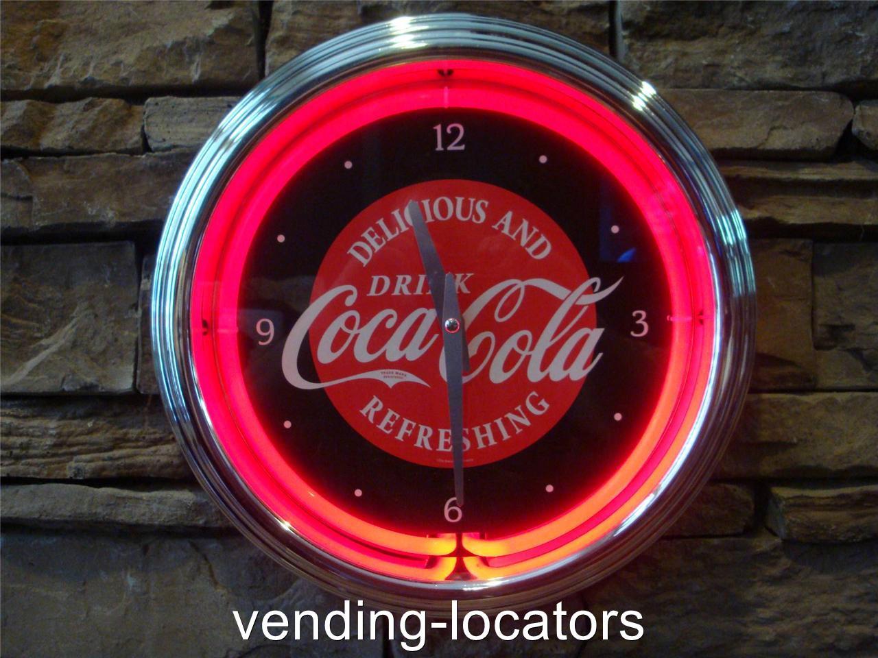 coca cola neon wall clock coke cooler bottle retro art deco old style sign. Black Bedroom Furniture Sets. Home Design Ideas