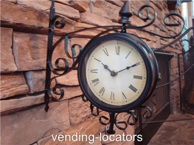 Train Station Clock Double Sided Weather Large Roman Wall