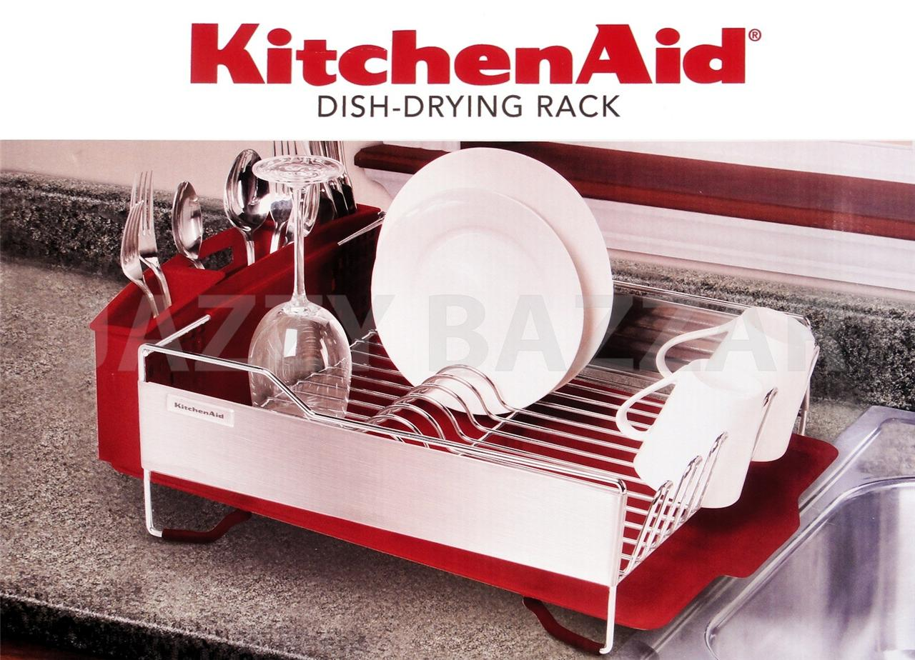 3pc kitchen aid red stainless steel dish drying rack cutlery drainer tray new ebay - Kitchenaid dish rack red ...