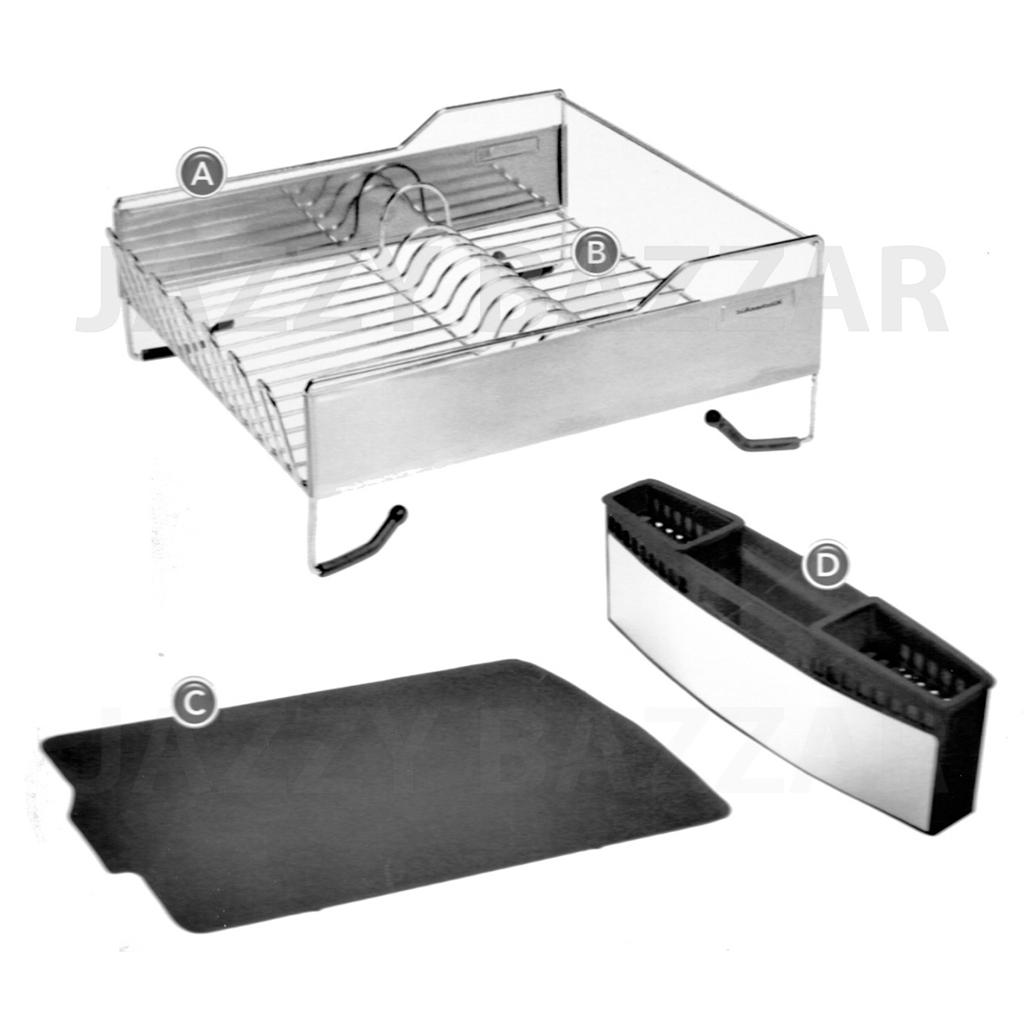 3pc Kitchen Aid Black Stainless Steel Dish Drying Rack Cutlery Drainer Tray New Ebay