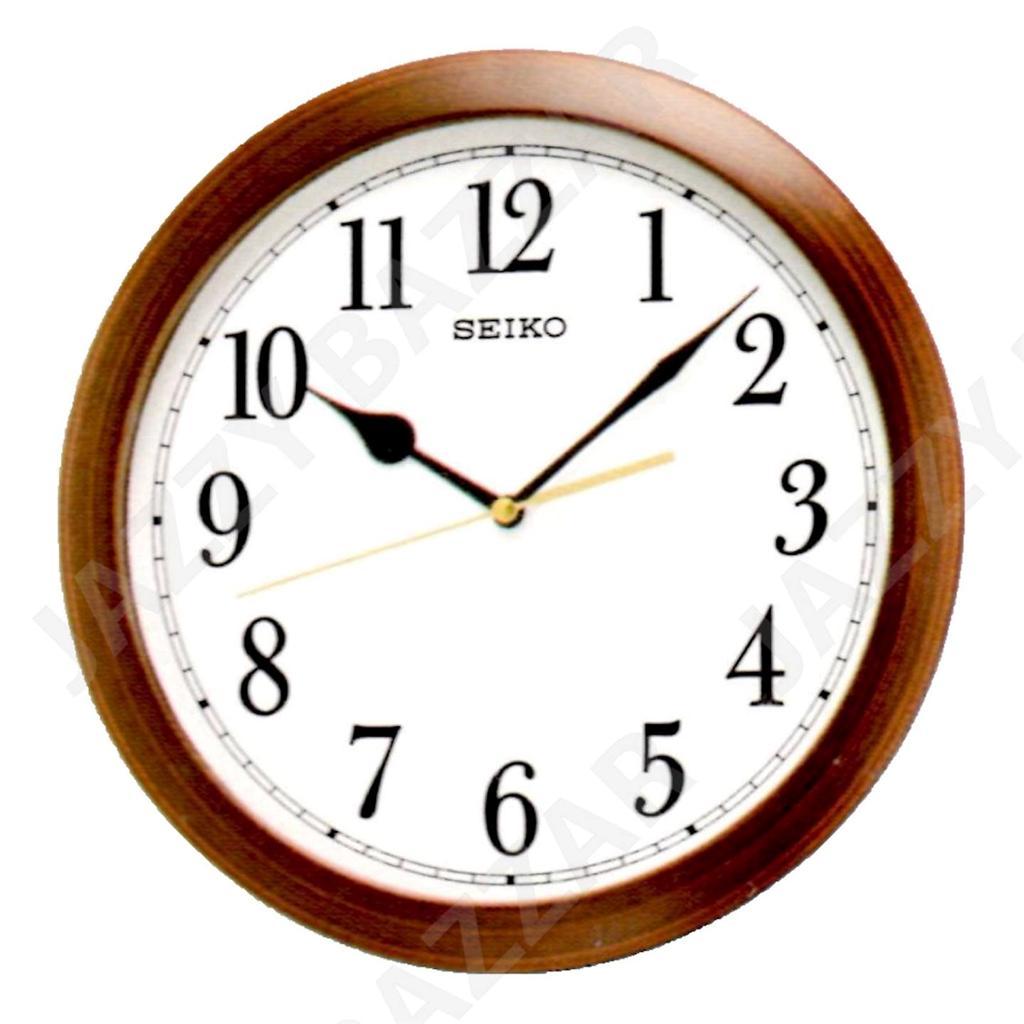 seiko wall clock wood effect qxa597b quiet sweep seconds
